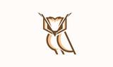 Cool and Elegant Owl logo designs line art vector illustration