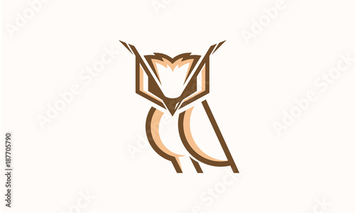 Cool and Elegant Owl logo designs line art vector illustration