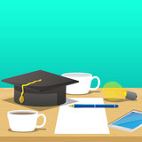 Pen on white paper, smart phone, empty and full coffee cup, graduation cap and light bulb on desk. Education concept. Vector cartoon style illustration. - 187707945