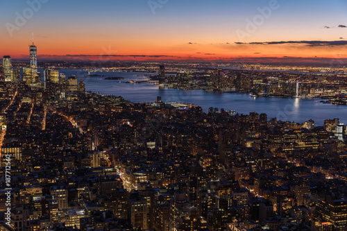 New York City skyline aerial panorama view at night with  Times Square and skyscrapers of midtown Manhattan.