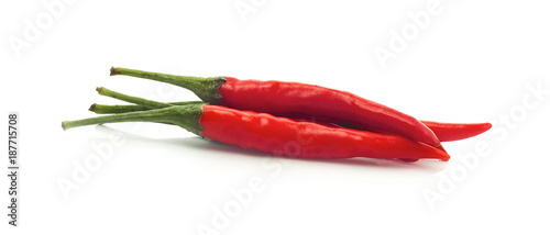 Deurstickers Verse groenten chili pepper isolated on a white background