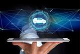 Car icon on a futuristic interface - 187716351