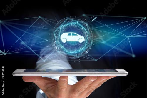 Fototapeta Car icon on a futuristic interface