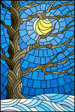 Illustration in stained glass style with winter tree on sky background with sun and  snow - 187731963