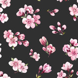 Watercolor spring floral vector pattern - 187733971
