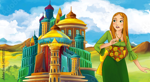 cartoon fairy tale scene with beautiful girl - standing in front of a castle - illustration for children - 187735512