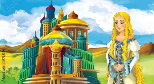 cartoon fairy tale scene with beautiful girl - standing in front of a castle - illustration for children - 187735756