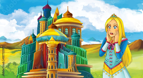cartoon fairy tale scene with beautiful girl - standing in front of a castle - illustration for children - 187735982