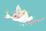 Cute flying white swan princess (bird, goose, duck) with flowers bouquet, pink tied bow and golden crown