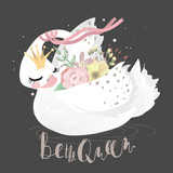 Beautiful white romantic dreaming swan with pink tied bow, crown and floral, flowers bouquet. Be the Queen lettering