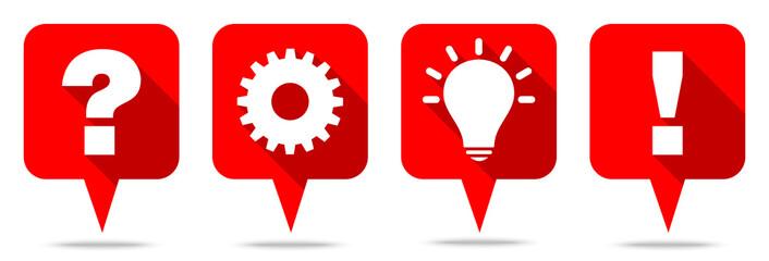 Speechbubbles Question, Work, Idea & Answer Red