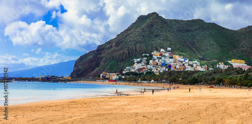 Fotobehang Freesurf Tenerife holidays and landmarks - beautiful beach las Teresitas, near Santa Cruz. Canary islands