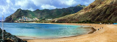 Fotobehang Freesurf Tenerife holidays and landmarks - beautiful beach las Teresitas, near Santa Cruz
