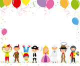 Children disguised for a party. Space for text or photo