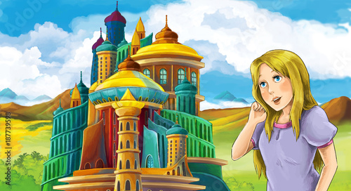 cartoon fairy tale scene with beautiful girl - standing in front of a castle - illustration for children - 187739598