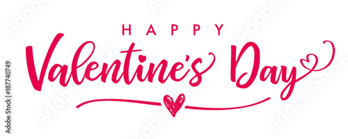 Lettering Happy Valentines Day banner. Valentines Day greeting card template with typography text happy valentine`s day and red heart and line on background. Vector illustration