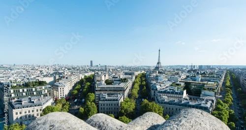 Sticker PARIS, FRANCE  – SEPTEMBER 2016 : Timelapse over central Paris on a beautiful day with Eiffel Tower and cityscape in view