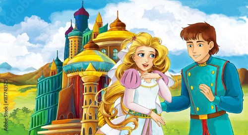cartoon scene with young married couple near beautiful castle illustration for children - 187743525