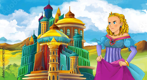 cartoon fairy tale scene with beautiful girl - standing in front of a castle - illustration for children - 187743565