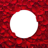 Red rose petals and round paper note - 187744329
