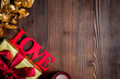 concept Valentine Day love wooden background top view mock up