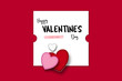 Valentines Day red and white greetings card, hearts, love and romance.