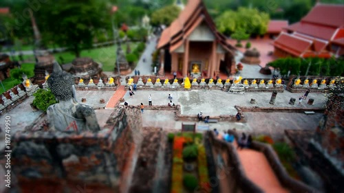 Time lapse aerial view of tourist in public temple at Ayutthaya, Thailand - Miniature effect