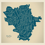 Modern City Map - Halle city of Germany with boroughs and titles DE - 187754307