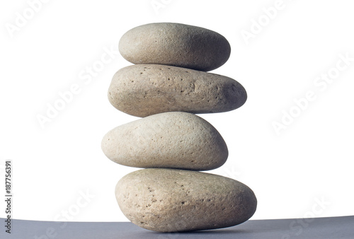 Foto op Canvas Zen Stones isolated on white background