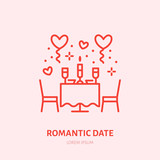 Romantic date illustration. Dinner by candlelight flat line icon, jewellery store logo. Valentines day celebration sign. - 187761717