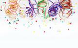 Carnival, Karneval, Fasching, Fastnacht, Kindergeburtstag, Luftschlangen, Konfetti, Hintergrund, Textraum, Copy space