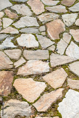 In de dag Stenen stone pavement and grass