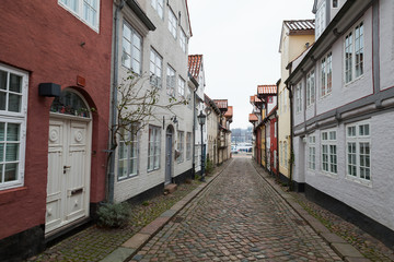 Streets of old town Flensburg, Germany