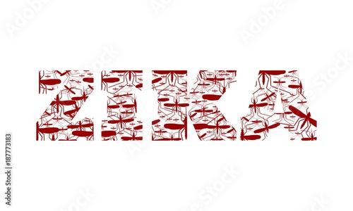 Virus diseases transmitter. Zika virus text from mosquito silhouettes - 187773183