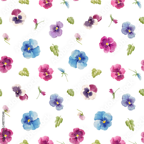 Watercolor pansy flower vector pattern