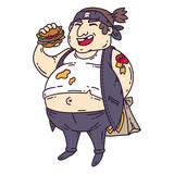 Fat man with burger....