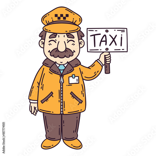Happy taxi driver. Isolated objects on white background. Cartoon vector illustration. - 187774101