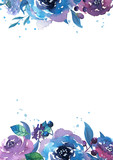 Watercolor frame with flowers, leaves and branches. Hand drawn illustration. - 187774767