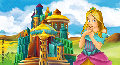 cartoon fairy tale scene with beautiful girl - standing in front of a castle - illustration for children - 187775131