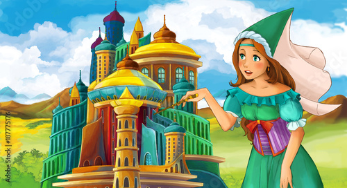 cartoon fairy tale scene with beautiful girl - standing in front of a castle - illustration for children - 187775176