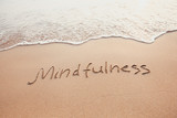 mindfulness concept, mindful living, text written on the sand of beach - 187777755