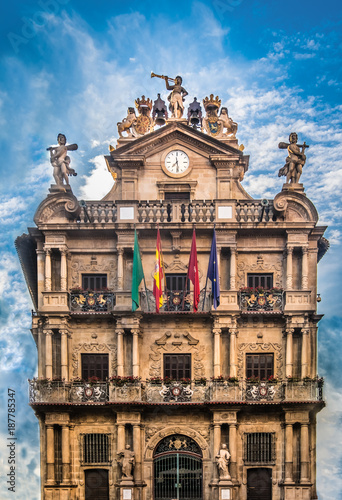 City Hall, Pamplona (Iruña), where the running of the bulls during the San Fermin festival is kicked off, Pamplona (Iruña), the historical capital of Navarre, Spain.