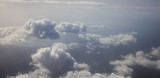 Clouds white and grey background. Aerial photo from plane's window