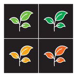 Leaf icon color line vector nature