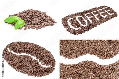 Deurstickers Koffiebonen Collage of brown coffee beans on a white background clipping path