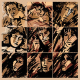 Abstract faces of men and women on grunge background