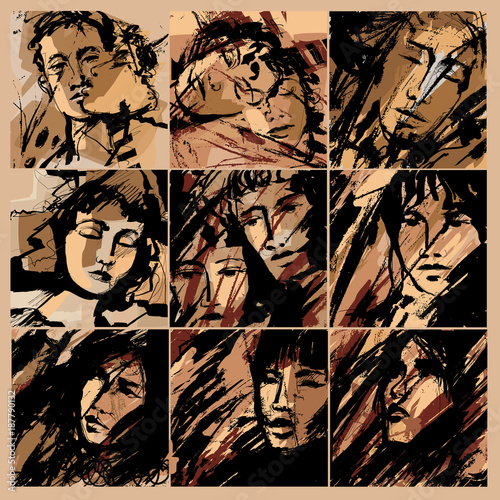 Papiers peints Art Studio Abstract faces of men and women on grunge background