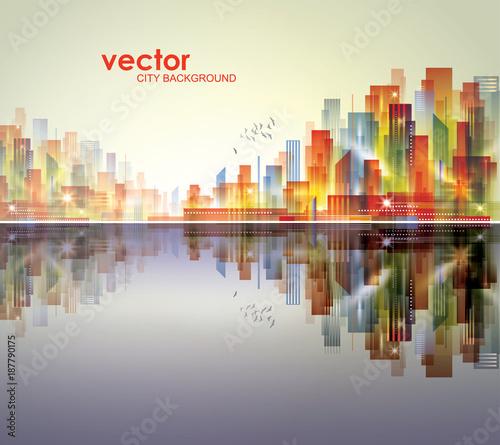 Illuminated Night city skyline, vector illustration