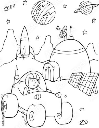 Fotobehang Auto Space Base Vector Illustration Art