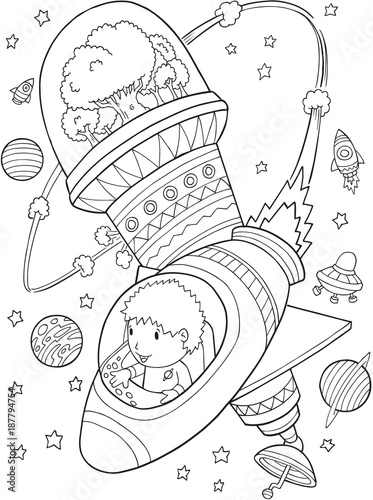 Foto op Canvas Cartoon draw Outer Space Astronaut Space Station Vector Illustration Art